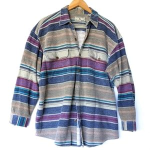 VINTAGE Oversize flannel button down shirt shacket